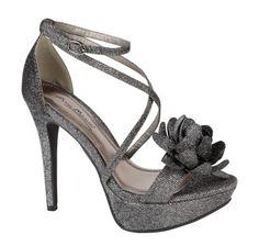 Anne Michelle Ladies black silver 2 tone high heel platform strap sandal