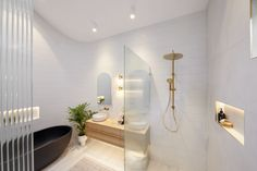 Big Bathrooms, Bathroom Renos, Beautiful Bathrooms, Bathroom Ideas, Bathroom Inspo, The Block Bathroom, Reeded Glass, Smart Toilet, Minimal Bathroom