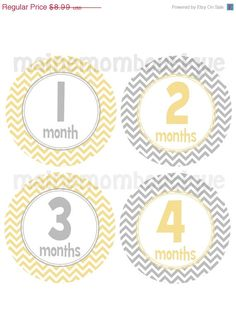 ON SALE On SALE Monthly Baby Boy Girl Milestone Bodysuit Stickers Month Photo Prop Sticker Grey Yellow Chevron Gender Neutral Photo Gift Pac on Etsy, $8.09