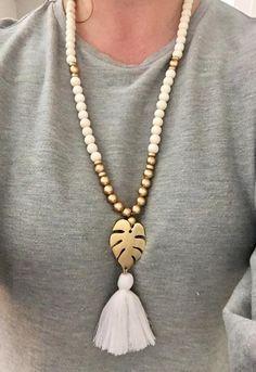 long beaded necklace sea shell pendant necklace blue tassel necklace Beaded boho tassel necklace blue necklace long layer beads necklace