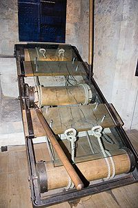 Rack (torture) - The accused witch would be stretched on a rack until their arms and legs were pulled from their sockets until they confessed to practicing witchcraft. http://bonniebutterfield.com/witches.html