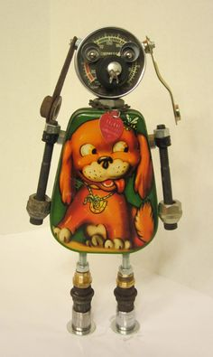 'Rex Dog Bot' - found object robot sculpture assemblage made by Bitti Bots (Cheri Kudja)