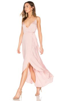 Band of Gypsies Tissue Satin Wrap Dress in Dusty Pink