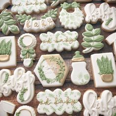 Fisher Baby Shower oh baby . Baby Shower Verde, Deco Baby Shower, Shower Bebe, Baby Shower Parties, Baby Boy Shower, Baby Shower Green, Bridal Shower, Baby Cookies, Baby Shower Cookies