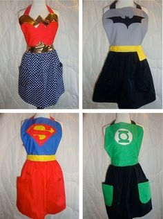 Superhero Aprons - how fun!! Now I really can be Wonder Woman :)