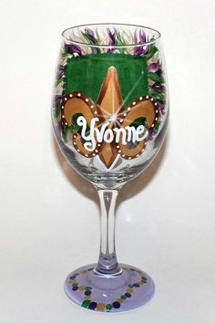 PourMeSomethin'Mister Mardi Gras Wine Glass by SunnyBelleDesigns, $20.00