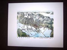Original artwork sailboat embroidery on vintage map of Seattle, embroidered art, map art, map artwork, vintage map art, sailing art