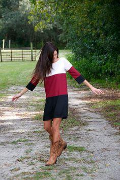 Molly Dress - Garnet/Black - YT Clothing #cowboyboots #gamedaydress #gamecocks
