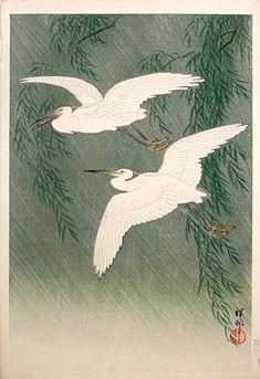 Ohara Koson (Shoson, 1877-1945)  egrets in rain, woodblock print, ca. 1926. SOLD.