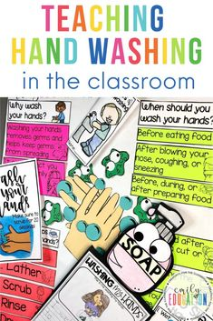 Fun Activities for Teaching Hand Washing. Hand Washing Posters. Engaging Activity Ideas to do with your students when teaching hand washing! This post has so many ideas to get kids excited about hand washing in the classroom or at home! Fun Classroom Activities, First Day Of School Activities, Classroom Crafts, School Resources, Hands On Activities, Learning Resources, Classroom Ideas, Hand Washing Poster, Digital Literacy