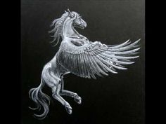 Pegasus Pegasus is a horse that has wide white wings .In Greek mythology mentioned that Pegasus was born from the blood when Perse. Mythological Characters, Mythological Creatures, Mythical Creatures, Greek Creatures, Pegasus Tattoo, Greek Mythology Tattoos, Winged Horse, Desenho Tattoo, Beautiful Creatures