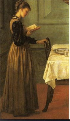 """""""Study of a Girl Reading"""" - oil painting by Valentine Cameron Prinsep."""