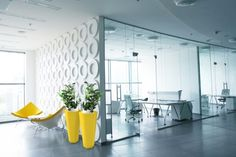 Hexik Planter in yellow brings a pop of color in a minimalist office space