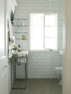 Byron View Farm / Strangetrader / Robert Schwamberg and Andrea Duff {white vintage industrial apothecary bathroom} by recent settlers, via Flickr