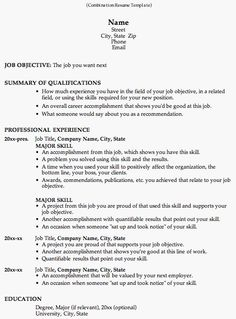 Take A Look At This Combination Resume Template To See Why Employers Like  It So Much. This Resume Format Is Great For Career Change And Work History  ...  No Work History Resume