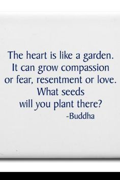 The heart is like a garden. It can grow compassion or fear, resentment or love. What seeds will you plat there? Buddha