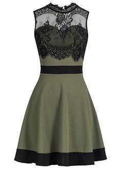 17ac9c73c783f3 Styleboom Fashion Damen Mini Kleid Spitze Rückenausschnitt military grün  schwarz - 77onlineshop