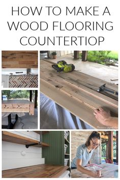 How to Make a Countertop out of Wood Flooring Diy Butcher Block Countertops, Wood Counter Tops Diy, Kitchen Island Countertop Ideas, Countertop Redo, Diy Concrete Countertops, Refacing Kitchen Cabinets, Concrete Lamp, Stained Concrete, Concrete Floors