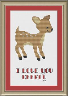 I love you deerly: cute deer cross-stitch pattern