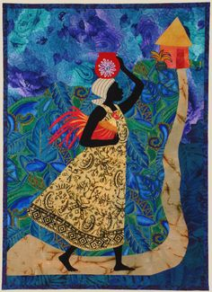 """Bequia - 39"""" x 28"""" -  Julia Cairns is a watercolor artist who specializes in paintings with African imagery. I saw a 2004 calendar of her paintings and fell in love with her work. I received permission from her to use her designs and made """"Bequia"""" from the February 2004 illustration."""