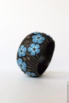 Купить Браслет широкий из полимерной глины Лён - браслет полимерная глина, браслет жесткий