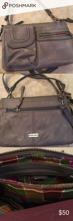 Perlina bag. Long/short straps. Gray. Perlina bag. Long/short straps. Gray. Lots of room inside. Multiple sections inside and out with zippers and credit card slots. Straps are removable so can be worn either way. Small bag perfect for a night out. Priced to reduce to attempt cheaper shipping. Perlina Bags Crossbody Bags