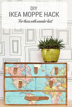 A fantastic IKEA Moppe hack with a vintage world map and leather draw pulls. Full step by step DIY. Great gift for those with wanderlust. - Diy for Houses Map Crafts, Diy And Crafts, Crafts With Maps, Furniture Makeover, Diy Furniture, Luxury Furniture, Furniture Online, Furniture Removal, Furniture Stores