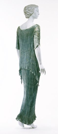 Evening ensemble, 1934  Mariano Fortuny (Italian, born Spain, 1871–1949)  Pale-blue pleated silk