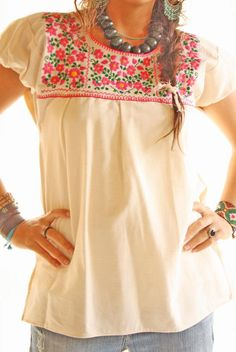 Mexican Traditional Blouse for weddings parties receptions fiestas and adorable hippie bohemian days Mexican Embroidered Dress, Mexican Blouse, Mexican Outfit, Mexican Dresses, Embroidered Blouse, Hippie Chic, Hippie Bohemian, Boho Fashion, Girl Fashion