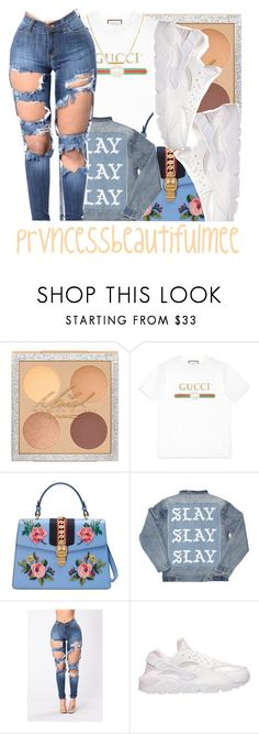 """Untitled #912"" by prvncessbeautifulmee ❤ liked on Polyvore featuring Gucci, NIKE and Dutch Basics"