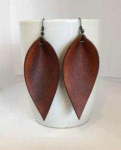 Leather Leaf Earrings, Joanna Gaines Inspired, Leather Earrings, Genuine Leather Earrings, You Choose Color