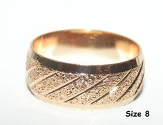 Unisex Brushed Rose Gold Filled Band Ring Free Shipping No Fees $15.00
