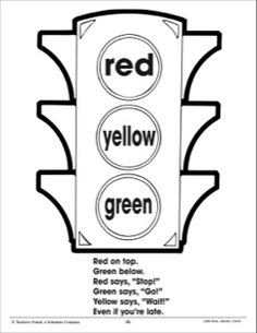 Traffic Light and Color Poem (Using Three Colors): I Can Color! Practice Page