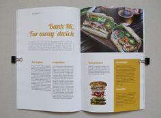 L'insouciant Magazine - layout, book, colors, mise en page, édition, couleur, exergue, focus, sandwich, banh mi, food
