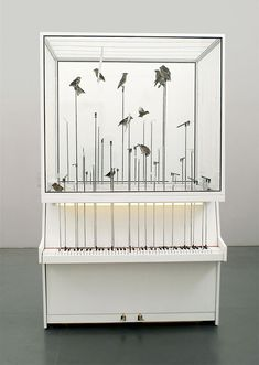 (via today and tomorrow) Dollar Note byRobert Gligorov: 2 white vertical pianos standing back to back, with a birdcage on top. When the birds jump from one perch to an other perch, the pianos play a note.