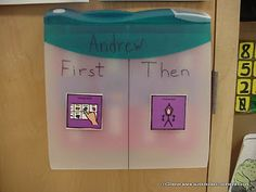 First/Then board with a binder- First/then on the front, pictures stored inside