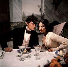Portrait of Alain Delon with Claudia Cardinale for Il Gattopardo directed by Luchino Visconti, 1963