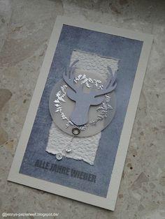 """Jenny's Papierwelt: Weihnachtskarte ~ """"Zum blauen Hirsch"""" ~"""