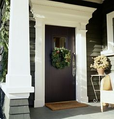 To help a doorway appear larger and seem more inviting, try adding decorative molding around the door frame. Use a color and style that complement other aspects of your home's exterior such as columns or porch railings.The extra touch can add big impact to your home's curb appeal.