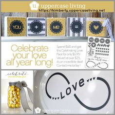 Spend $60 during the month of January and order this design pack for only $6.95 - in your choice of vinyl color.  The design pack includes 5 designs + 13 embellishments, with endless possibilities for celebrating love all year long!  #CelebrateLove #UL #ULVinylDesigns #You+Me