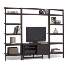 Sawyer Mocha Leaning Media Stand with Two 24.5'' Bookcases | Crate and Barrel