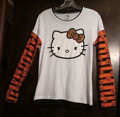 f77deb3194c Halloween Womens Junior Top Hello Kitty Brand Size L G Or for Young Teen