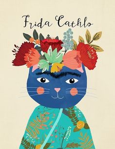 FRIDA KAHLO CAT ART IMAGE   A4 POSTER GLOSS PRINT  LAMINATED