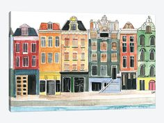 Watercolor City, Easy Watercolor, Watercolor Paintings, Watercolor Sketch, Watercolor Techniques, Watercolours, Canvas Art Prints, Painting Prints, Canvas Wall Art