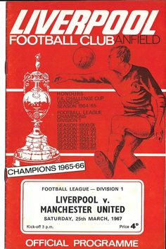 Everton 1 Liverpool 0 in March 1967 at Goodison Park. Liverpool televised it back to Anfield and made a match programme for this FA Cup Round tie. Football Ticket, Football Program, Football Cards, Liverpool Football Club, Liverpool Fc, Leeds United, Manchester United, This Is Anfield, Laws Of The Game