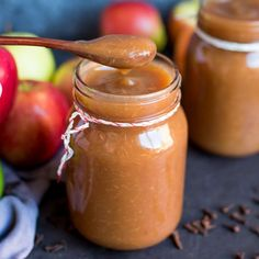 A simple throw-it-all-in spiced apple butter - no peeling required. Ready in less than 3 hours. You'll want to top everything with it!!