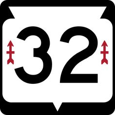 The shield sign for Wisconsin Highway 32 featuring the Red Arrow insignia, the only state highway which features an image.