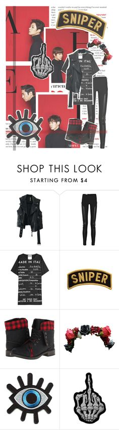 """""""Sniper By. Shinhwa"""" by josi-heart ❤ liked on Polyvore featuring Free People, Acne Studios, Moschino, Skechers, Retrò and vintage"""