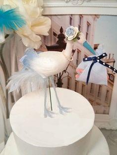 SALE Baby boy shower stork  bird cake topper by MissRoseDanae