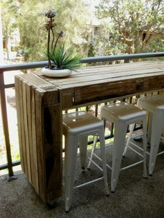 Incredible Design Ideas for Recycle and Use Pallets With Narrow Bar Table Made Entirely of Recycled Timber Pallets